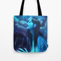 league of legends Tote Bags featuring League of Legends - Kalista by dNiseb