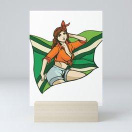 Pinup Girl with Flag Mini Art Print