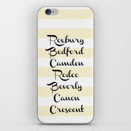 Beverly Hills Street Names Palm Trees Yellow Stripes iPhone Skin