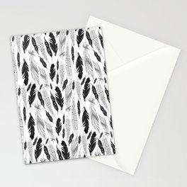raphic pattern feathers on a white background Stationery Cards