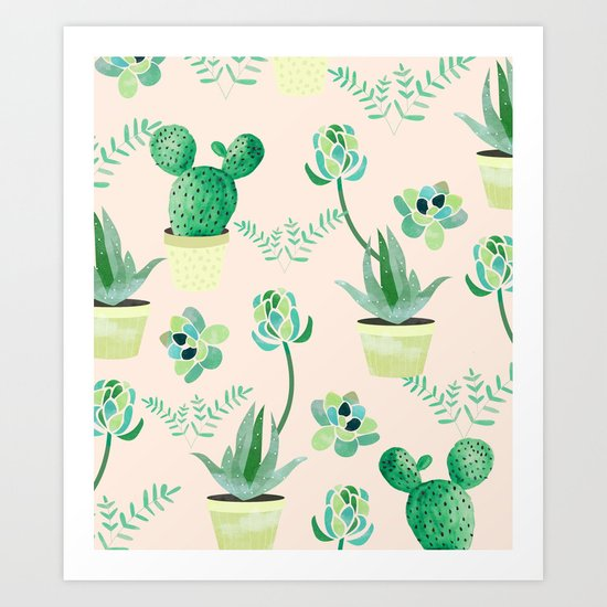 Cacti Pattern #society6 #decor #buyart Art Print