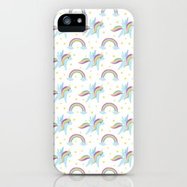 Cute abstract magical pink rainbow unicorn pattern iPhone Case