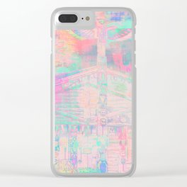 Totem Cabin Abstract - Pastel Clear iPhone Case