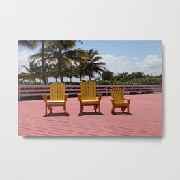 3 empty chairs Metal Print