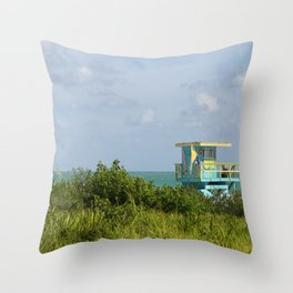 Caribbean Colored Lifeguard Station At Miami Beach Throw Pillow