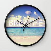 breathe Wall Clocks featuring BREATHE by Good Sense