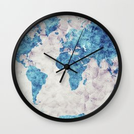 world map 52 blue Wall Clock