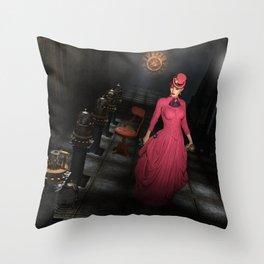 Steampunk Encryption Throw Pillow