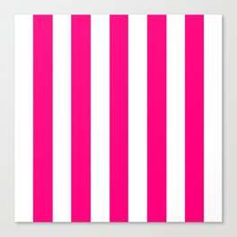 Winter Sky fuchsia - solid color - white vertical lines pattern Canvas Print