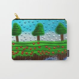 Beaded landscape Textured abstract with sea waves in the foreground and trees Carry-All Pouch