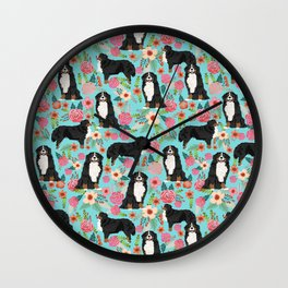 Bernese Mountain Dog pet portrait dog art illustration fur baby dog breed floral gift for dog lover Wall Clock