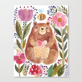 WATERCOLOR BEAR & BEE Canvas Print