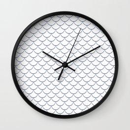 Modern navy blue white scallope pattern Wall Clock