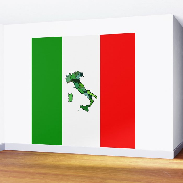 Map of Italy and Italian Flag Wall Mural
