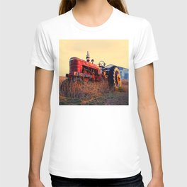 old tractor red machine vintage T-shirt