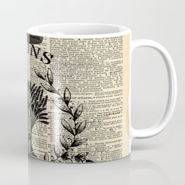 librarian book dictionary print vintage crown french farmhouse wheat bouquet Coffee Mug