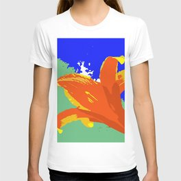 Daylily in Surreal Orange, Yellow, Blue Sky, Green Trees T-shirt