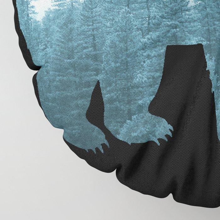Misty Forest Bear - Turqoise Floor Pillow