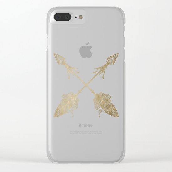 Tribal Arrows Gold on Paper Clear iPhone Case
