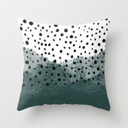 teal polka dots Throw Pillow