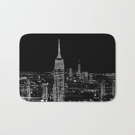 Contemporary Elegant Silver City Skyline Design Bath Mat