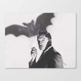 Original Charcoal Drawing of Vincent Price in The Bat Canvas Print