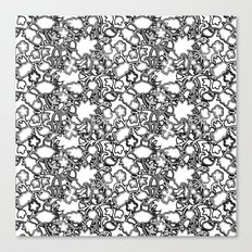 Lila's Flowers Repeat Black and White Canvas Print