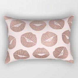 Girly Cute Artsy Rose Gold Hand Drawn Kiss Lips Rectangular Pillow