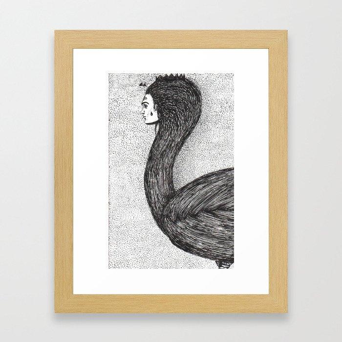 human swan Framed Art Print