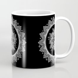Bohemian Lace Paisley Mandala White on Black Coffee Mug