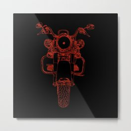cycle front view, red on black Metal Print