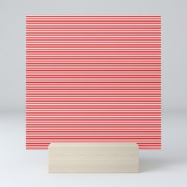 Thin Berry Red and White Rustic Horizontal Sailor Stripes Mini Art Print
