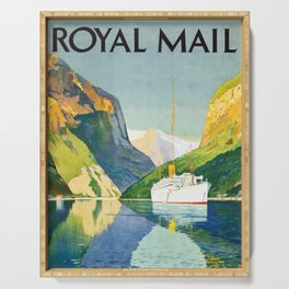Vintage Royal Mail travel Poster -  Norwegian Fjords Serving Tray