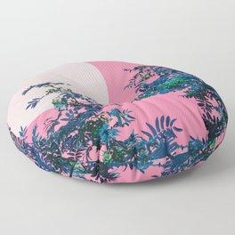 Pink sky and rowan tree Floor Pillow
