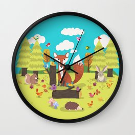 Forest Friends Fall Frolic Wall Clock
