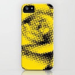 Yellow Rose Halftone on Black iPhone Case