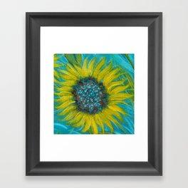 Sunflowers on Turquoise II Framed Art Print