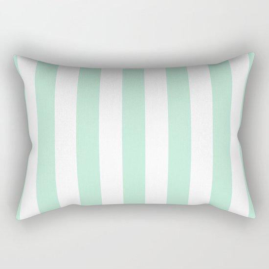 Mint green and White stripes-vertical Rectangular Pillow
