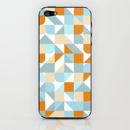 Abstract geometrical hipster pattern in orange and blue iPhone Skin
