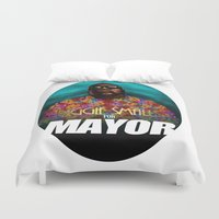 biggie smalls Duvet Covers featuring Biggie Smalls for Mayor by Tom Brodie-Browne