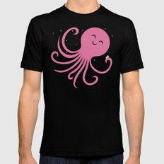 Octopus Selfie at Night Black Mens Fitted Tee LARGE