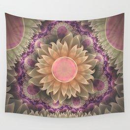 Pastel Pearl Lotus Garden of Fractal Dahlia Flowers Wall Tapestry