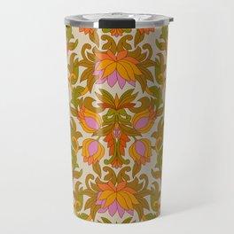 Orange, Pink Flowers and Green Leaves 1960s Retro Vintage Pattern Travel Mug