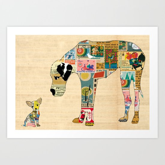 Great Dane and Chihuhua Collage  Art Print