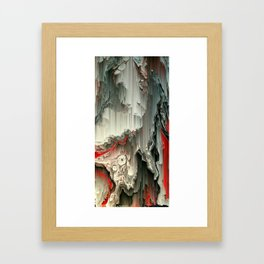 Digital Art Fluid Acrylic Painting Black, Silver, Red Waterfall Framed Art Print