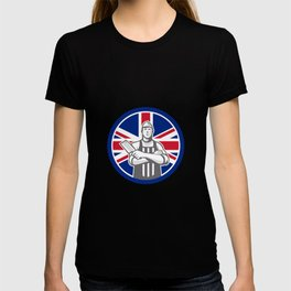British Butcher Front Union Jack Flag Icon T-shirt