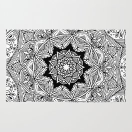 paisley black and white hippie boho mandala Rug