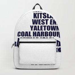 Vancouver West Coast Canada Neighbourhoods Backpack