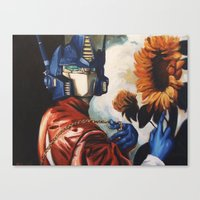 optimus prime Canvas Prints featuring Optimus Prime With Sunflower by Hillary White