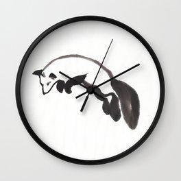 Fox hunting Mouse Sumi-e Wall Clock